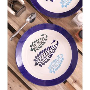 Blue Paisley Ceramic Full Plates Set of Six