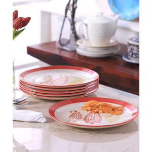 Red Paisley Ceramic Full Plates Set of Six
