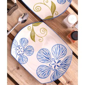 Blue Flower Ceramic Rectangular Serving Plate Set of Two