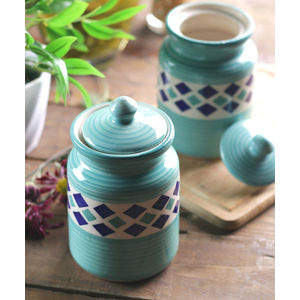 Green Diamond Ceramic 6 Inches Jars Set of Two