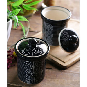 Black Ceramic Jars Set of Two - 4 Inches