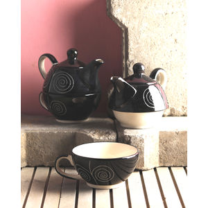 Ceramic Black Tea Pot with Cup Set of Two