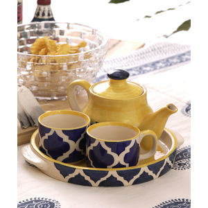 Ceramic Blue Cups & Kettle Gift Set