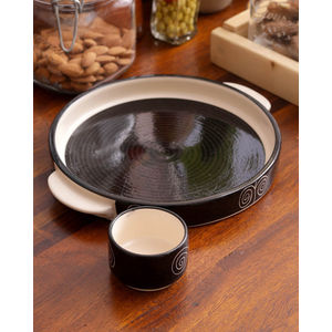 Black Ceramic 8 Inch Pizza Plate with dip bowl