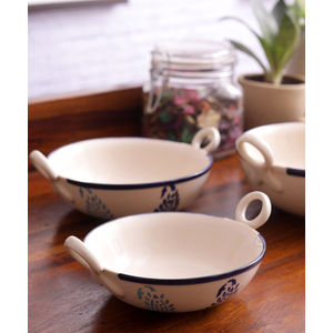 Blue Paisley Ceramic Kadhai Serving Dishes Set of Three