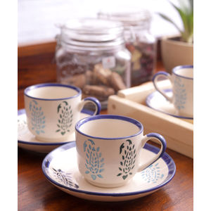 Blue Paisley Cups with Saucers Set of Six