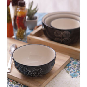 Black Spiral Ceramic Bowls Set of Four