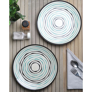 Green Spiral Ivory Ceramic Dinner Plates Set of Six