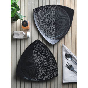Ceramic Black Triangle Plates Set of  Two