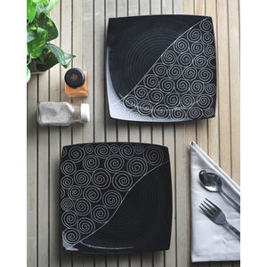 Ceramic Black Square Plates Set of  Two