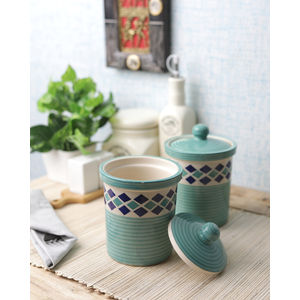 Green Diamond 6 Inch Ceramic Jars Set of Two