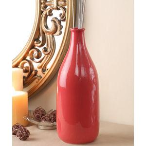 Hand Made Carrot Red Ceramic Bottle Vase