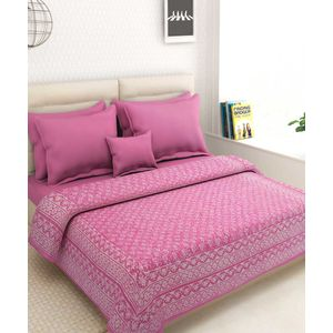 Rajasthani Pink Block Kantha Work Bed Cover