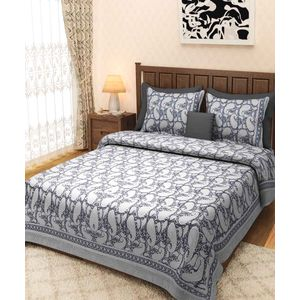 Black Paisley Rajasthani Block Print Bed Sheet