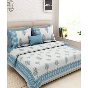 White Turquoise Block Print Bedsheet