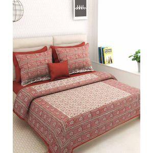Maroon Beige Rajasthani Block Print Bed Sheet