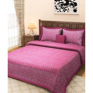 Pink Block Print Rajasthani BedSheet