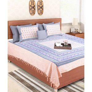 Block Print Blue Rajasthani Double Bedsheet