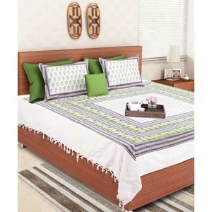 Block Print White Green Rajasthani Double Bedsheet