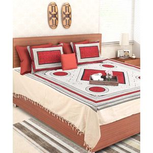 Hand Made Jaipuri Red Circle Double Bedsheet