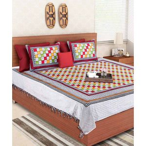 Rajasthani Block Print Multicolored Double Bedsheet