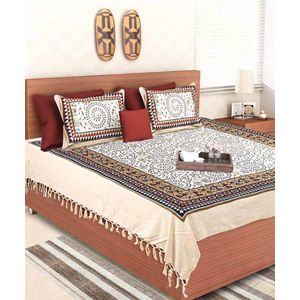 Blockprint Warli Handloom Double Bed Sheet