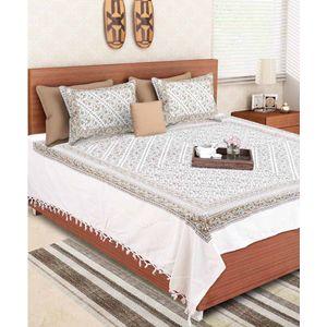 Block Print Green Jaipuri Double Bedsheet