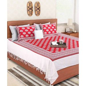 Hand Made Paisley Red Block Print Double Bedsheet