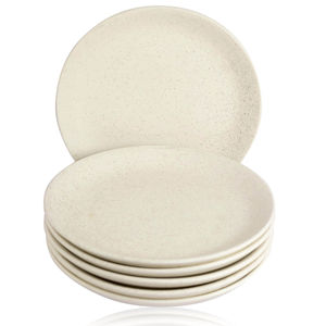 White Marble Matt Ceramic  Full Plates Set of Six