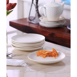 White Marble Matt Ceramic Quarter Plates Set of Six