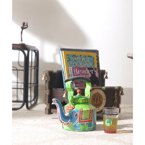 Hand Painted Green Elephant Kettle
