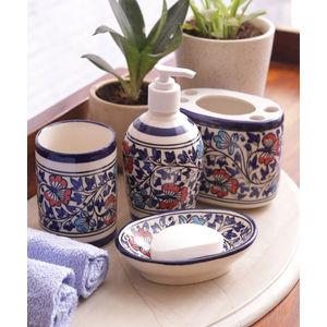 Hand Made Mughal Ceramic Bathroom Accessories Four Piece Set