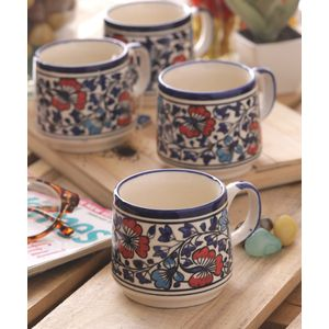 Hand Painted Multi Flowers Ceramic Cups Set of Six