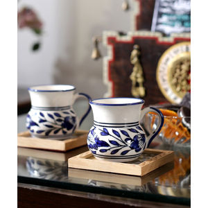 Blue Ceramic Small Round Tea Cups Set of Six