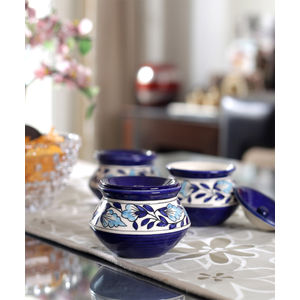 Mughal Blue Ceramic Handi Pots Set of Three