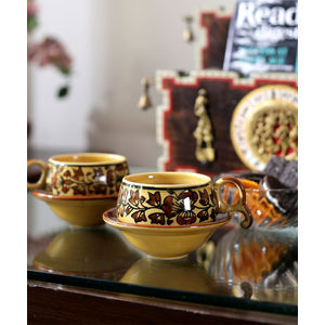 Mughal Brown Ceramic Cups with Saucers Set