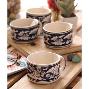 Hand Made Blue Tea Mugs Set of Six