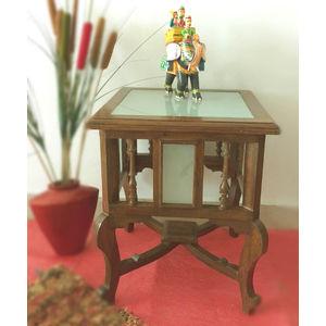 VarEesha Teak Wood 18 Inch Side Table