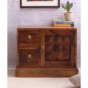 VarEesha Teak Wood Bedside Table Cabinet