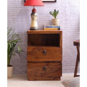 VarEesha Sheesham Wood Double Drawer Side Table