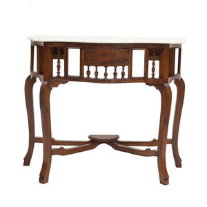 Teak Wood Console with Marble Top