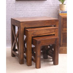 Sheesham Wood Cross Nesting Tables Set of Three