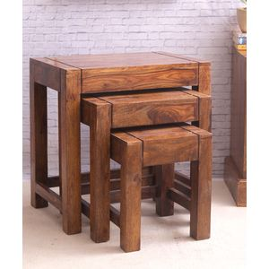Hand Made Sheesham Wood Nesting Tables Set of Three
