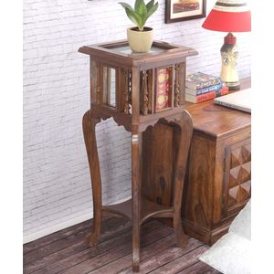 Hand Crafted Teak Wood 30 Inch Tile Planter Table