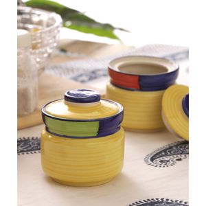 Multicolored Round Ceramic Pickle Jars Set of Two