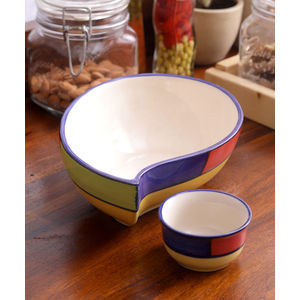 Multicolored Ceramic Paisley Serving Dish with Sauce Bowl