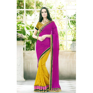 Georgette Jacquard Pink And Yellow Color Saree
