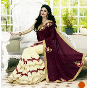 Silk Maroon And Off-White Color Saree