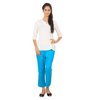 Turquoise Rayon Solid Pants With 2 Pockets