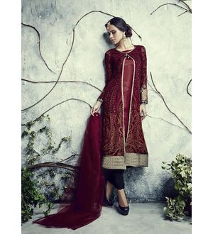 Maroon Coloured Pakistani Georgette Suit